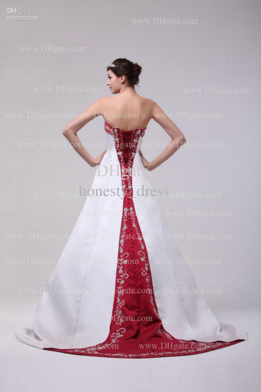 2016 Fashion Dark Red White Embroidery Wedding Dress A Line Strapless Court Train Beads Ruffle Satin Bridal Gowns Vestido De Novia