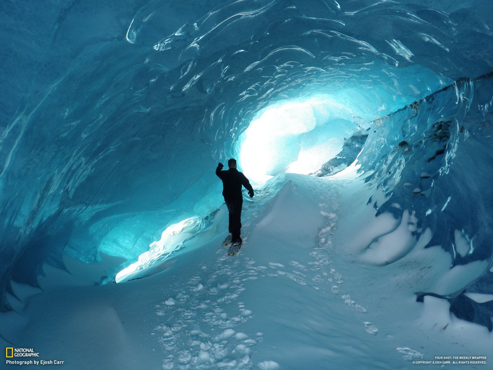 Walking Thru A Frozen Wave In Antarctica
