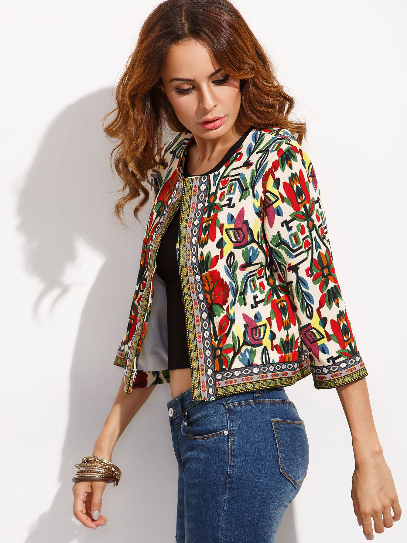 Shop tribal print embroidered tape detail outerwear online shein offers tribal print - Shein damenmode ...
