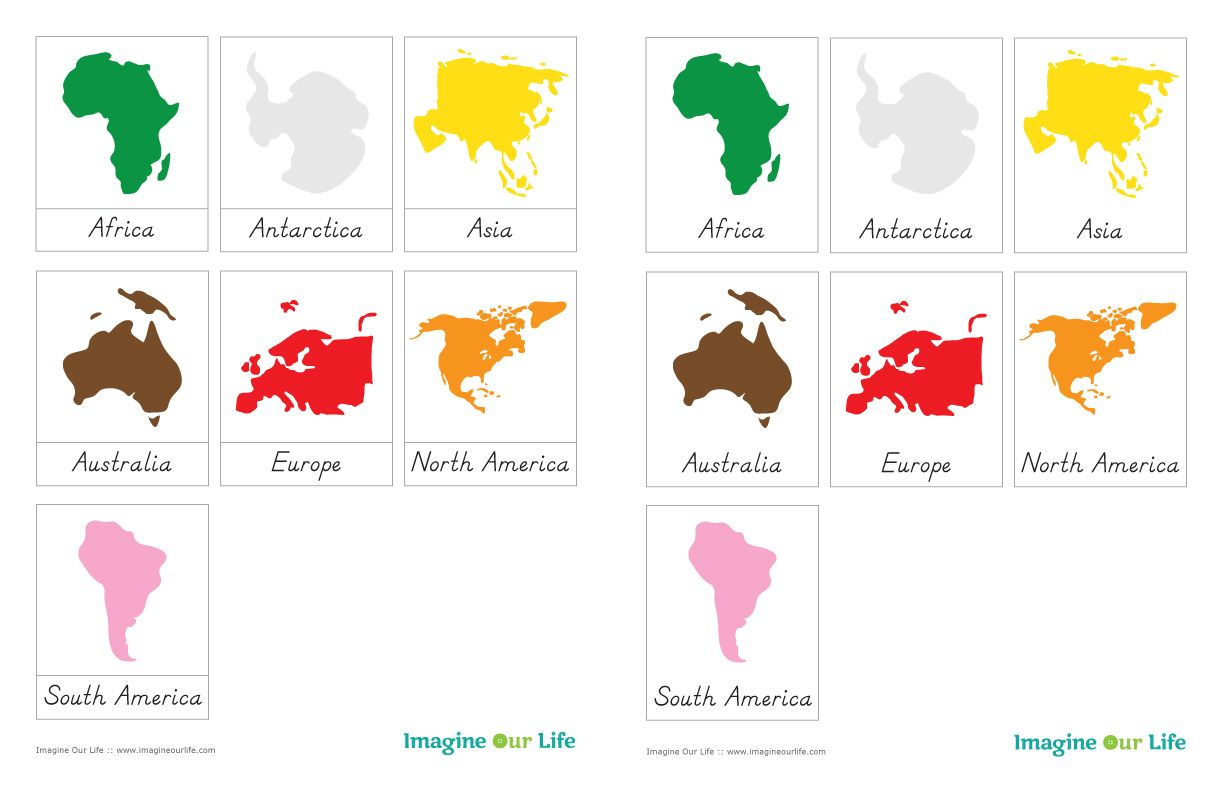 Montessori Continents Map Sewalong And Continents Free 3 Part Cards
