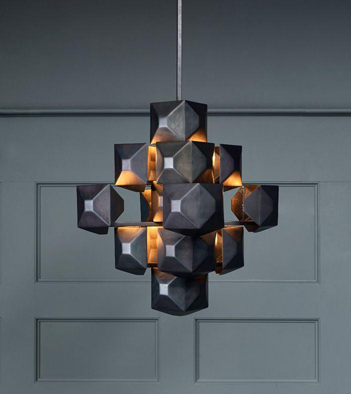 Black 3 Squared Chandelier Blackman Cruz Chandelier Design Lighting Inspiration Lighting Design