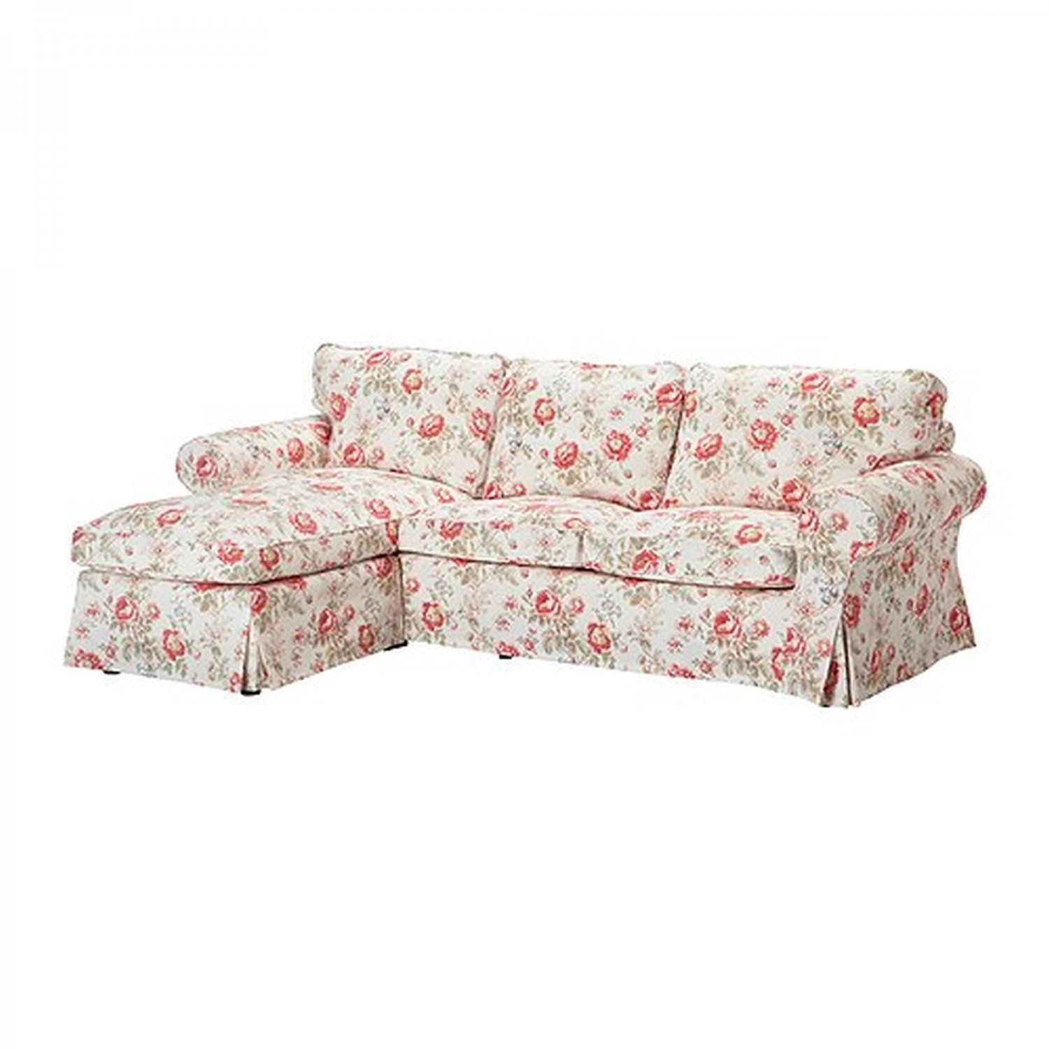 Ikea Ektorp Loveseat Sofa With Chaise Cover Slipcover Byvik Multi Floral Roses Peonies Ikea Ektorp Loveseat Sofa Ikea Ektorp Cover