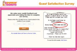 www.TellDunkin.com - Dunkin' Donuts Guest Survey