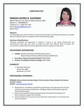 sample resumes for first job