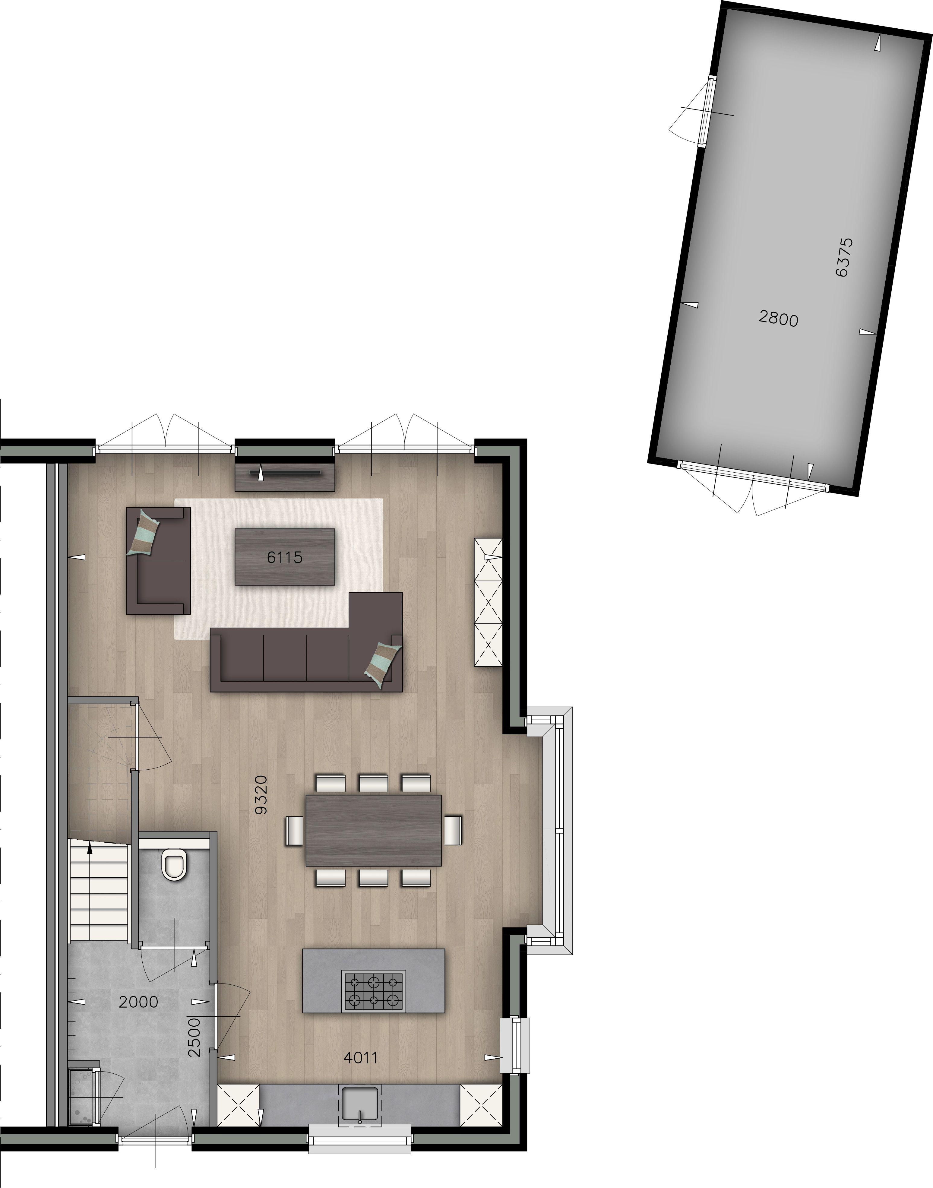 Plattegrond Woonkamer | Keuken | WC | Garage - indeling kamer ...
