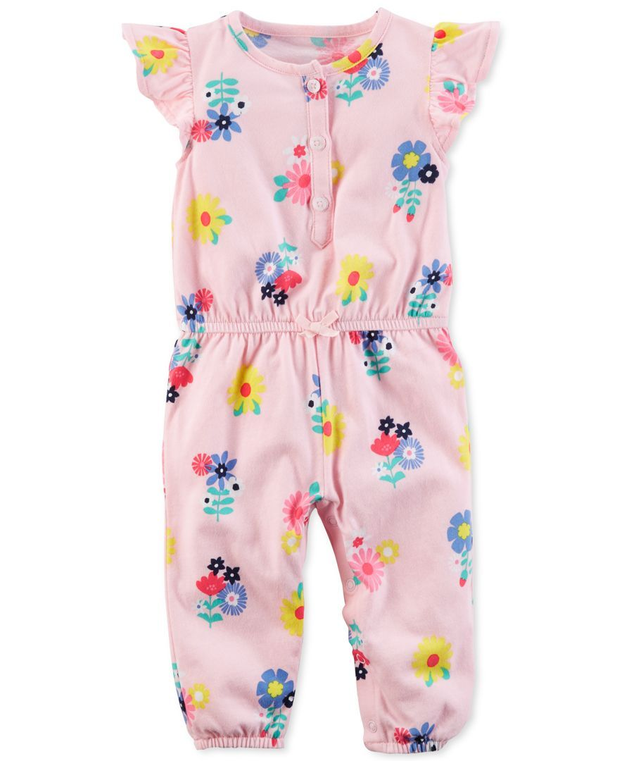 badee15d9 Carter's Floral-Print Cotton Jumpsuit, Baby Girls (0-24 months ...
