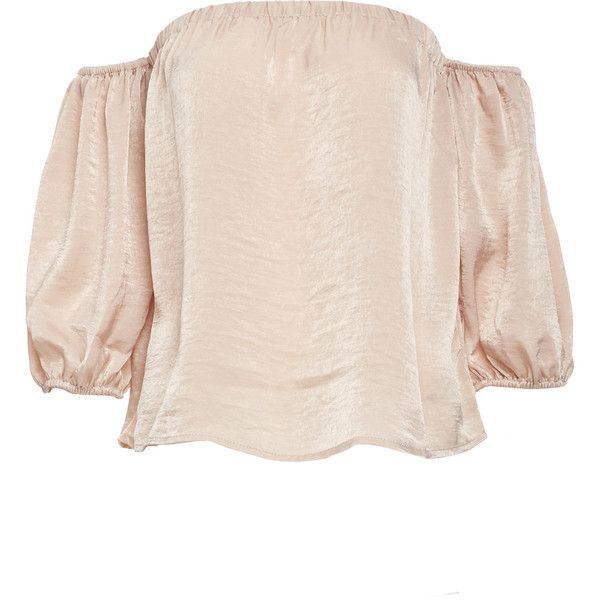 Storee Malin Off Shoulder Blouson Sleeve Top (€68) ❤ liked on Polyvore featuring tops, tan, blouson top, off the shoulder tops, pink top, pink off shoulder top and sleeve top