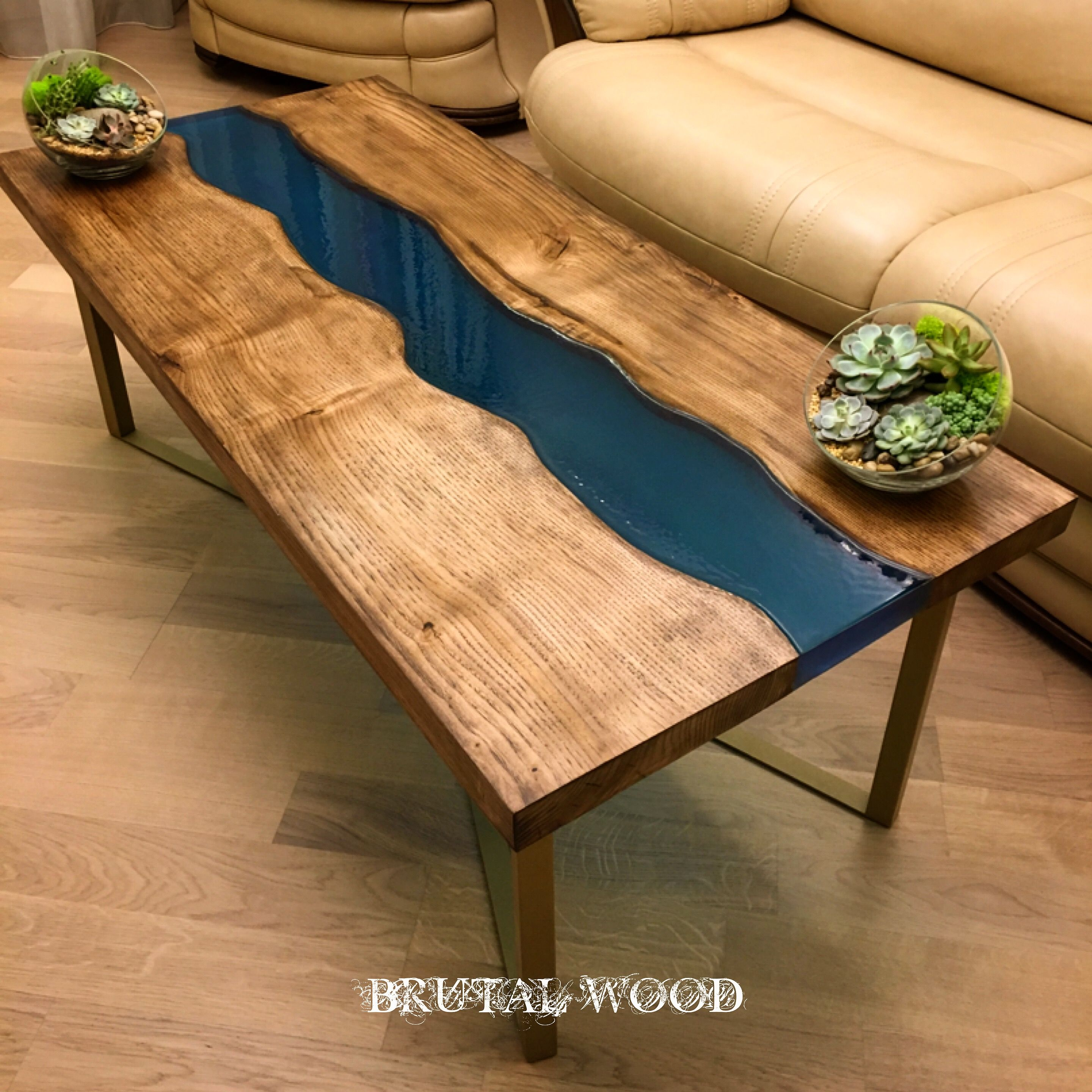 River table slabs of chestnut with potting epoxy resin for Diy river table