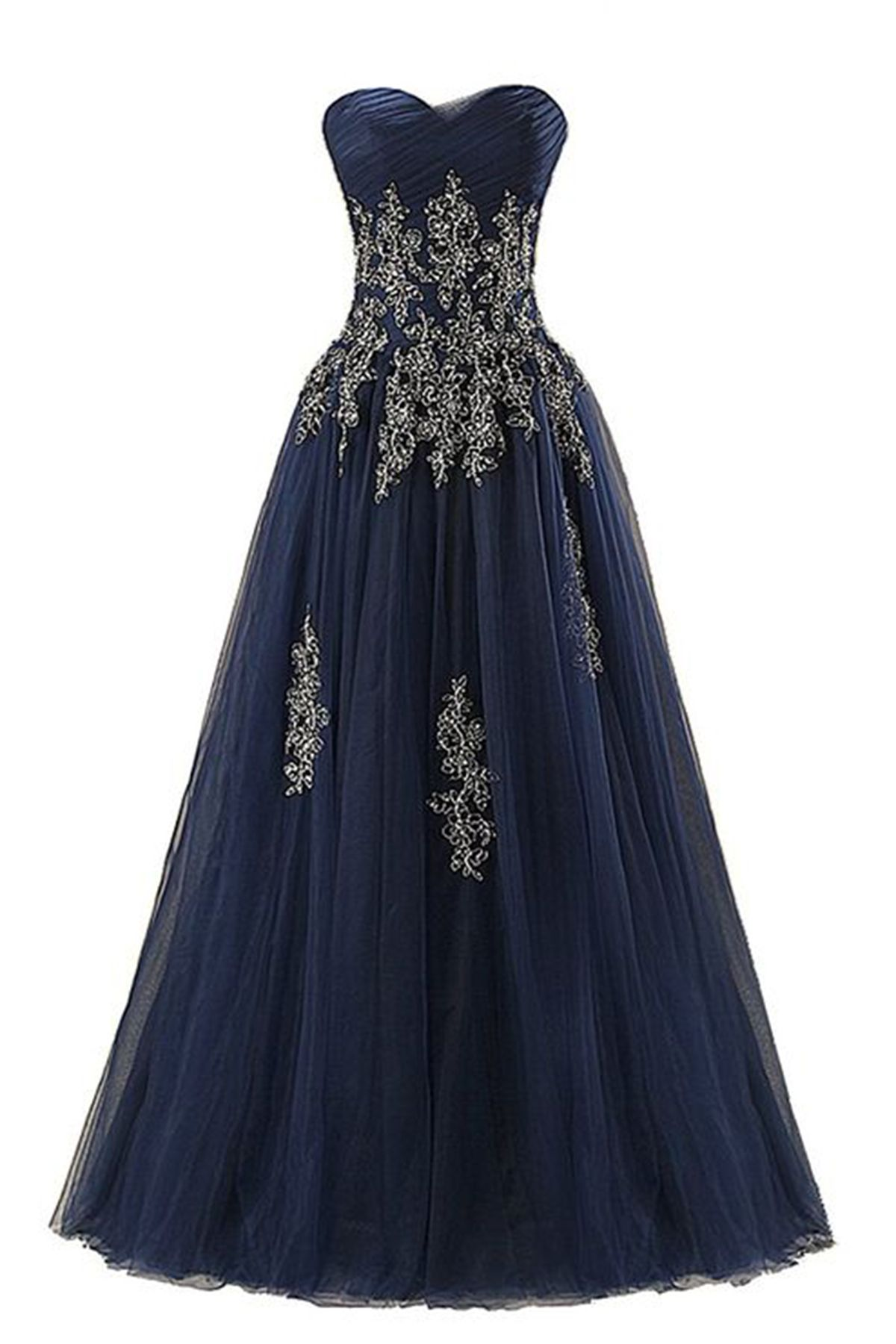 New navy blue tulle long sleeveless prom dresses prom dresses
