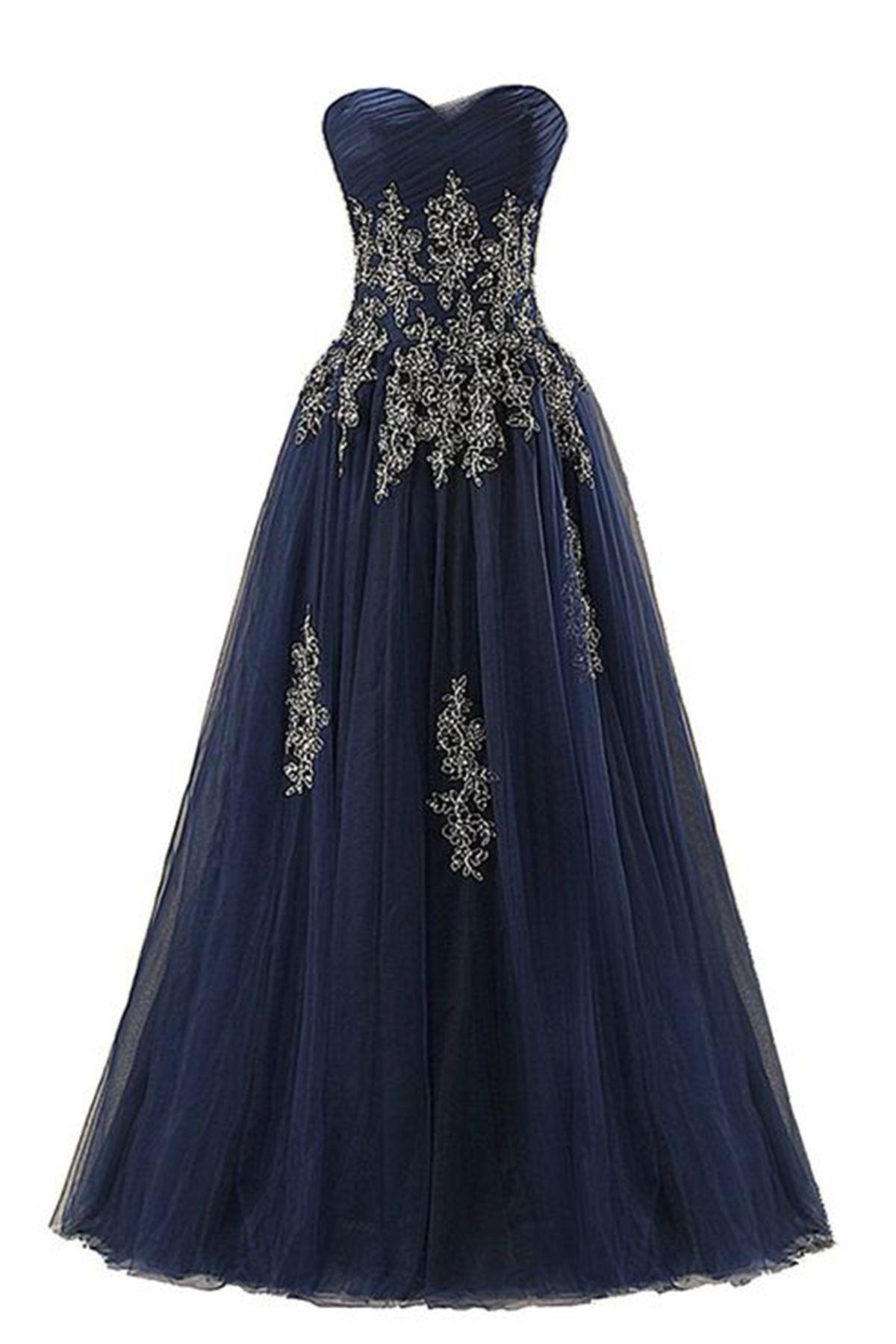 New navy blue tulle long sleeveless prom dresses gowns pinterest