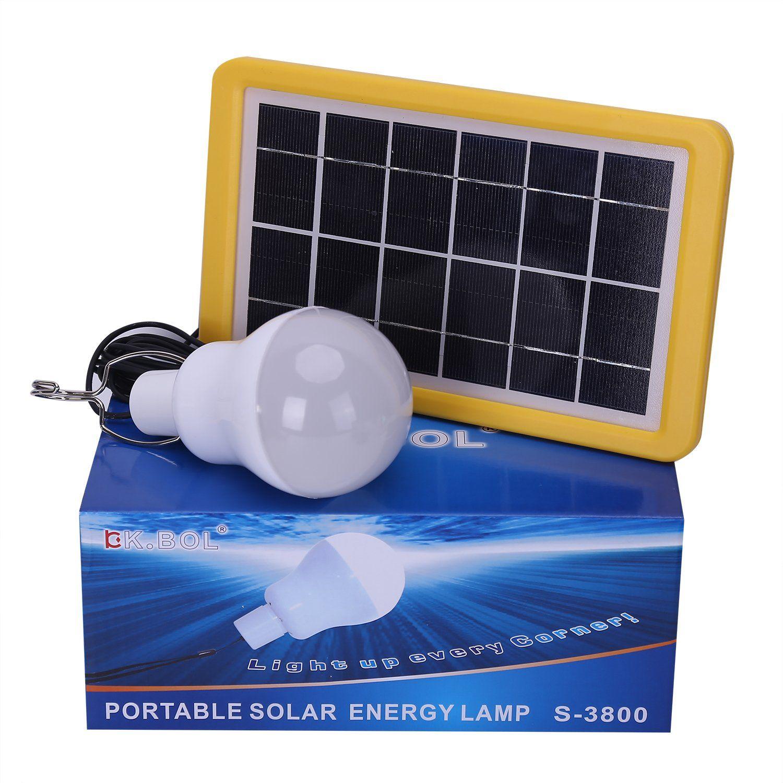 kk bol solar lamp portable led light bulb solar panel powered