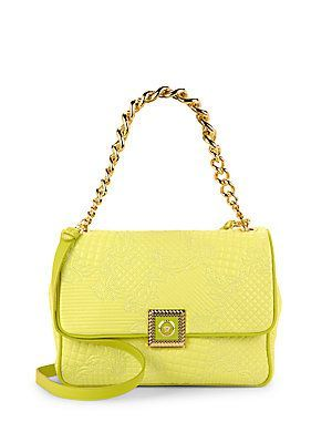 Versace Quilted Leather Crossbody Bag - Yellow - Size No Size