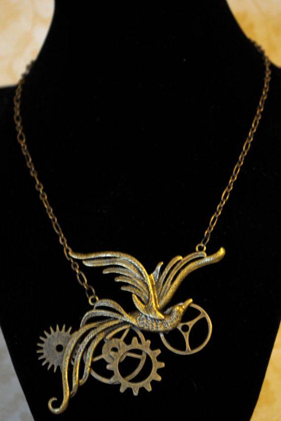 Phoenix/Mockingjay steam punk necklace