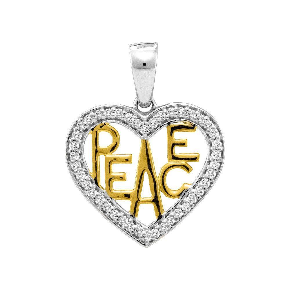 10kt White Two-tone Gold Womens Round Diamond Yellow Peace Heart Pendant 1/6 Cttw