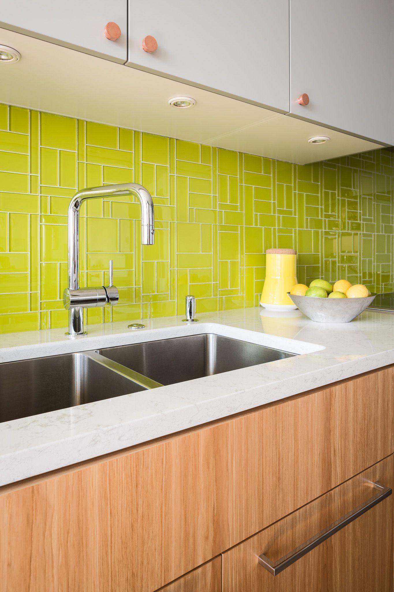 Kitchen - Colourful backsplash with hickory cabinets. #kitchen ...