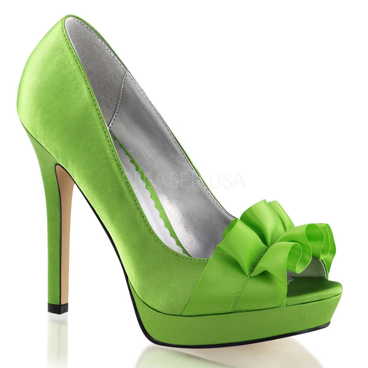 Fabulicious Platform Peep Toe Pump With Ribbon Across Vamp Apple Green Satin