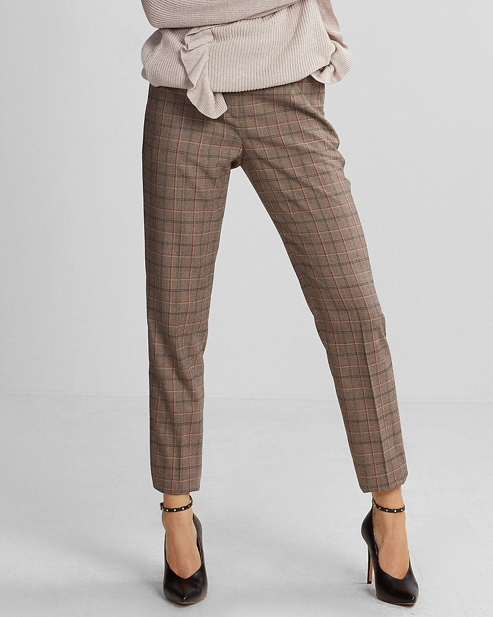 Online boots high waisted plaid pleated ankle pant china red dead