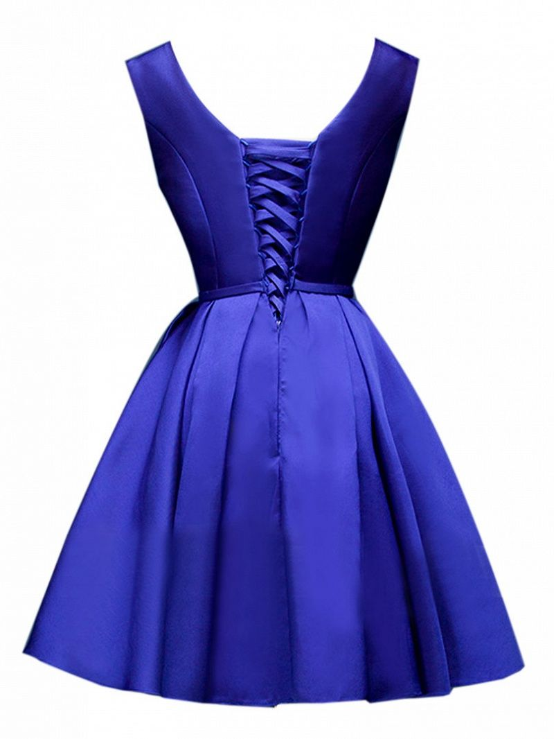 7c0b8bc4e7 Blue Plunge Neck Bowknot Waist Lacing Back Prom Skater Dress Dresses  Tops   Swimwear  Jeans  Jackets  Skirts  Shoes