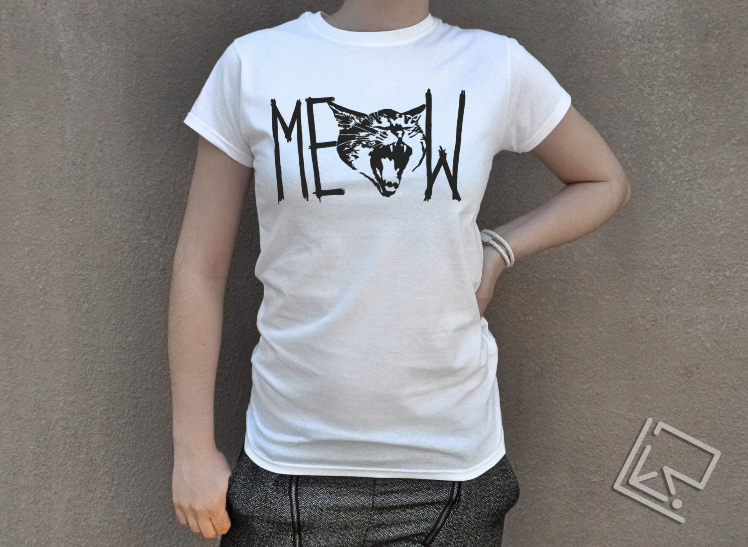 Womens Cat Meow T Shirt Gift For Girlfriend Gift For Wife Gift