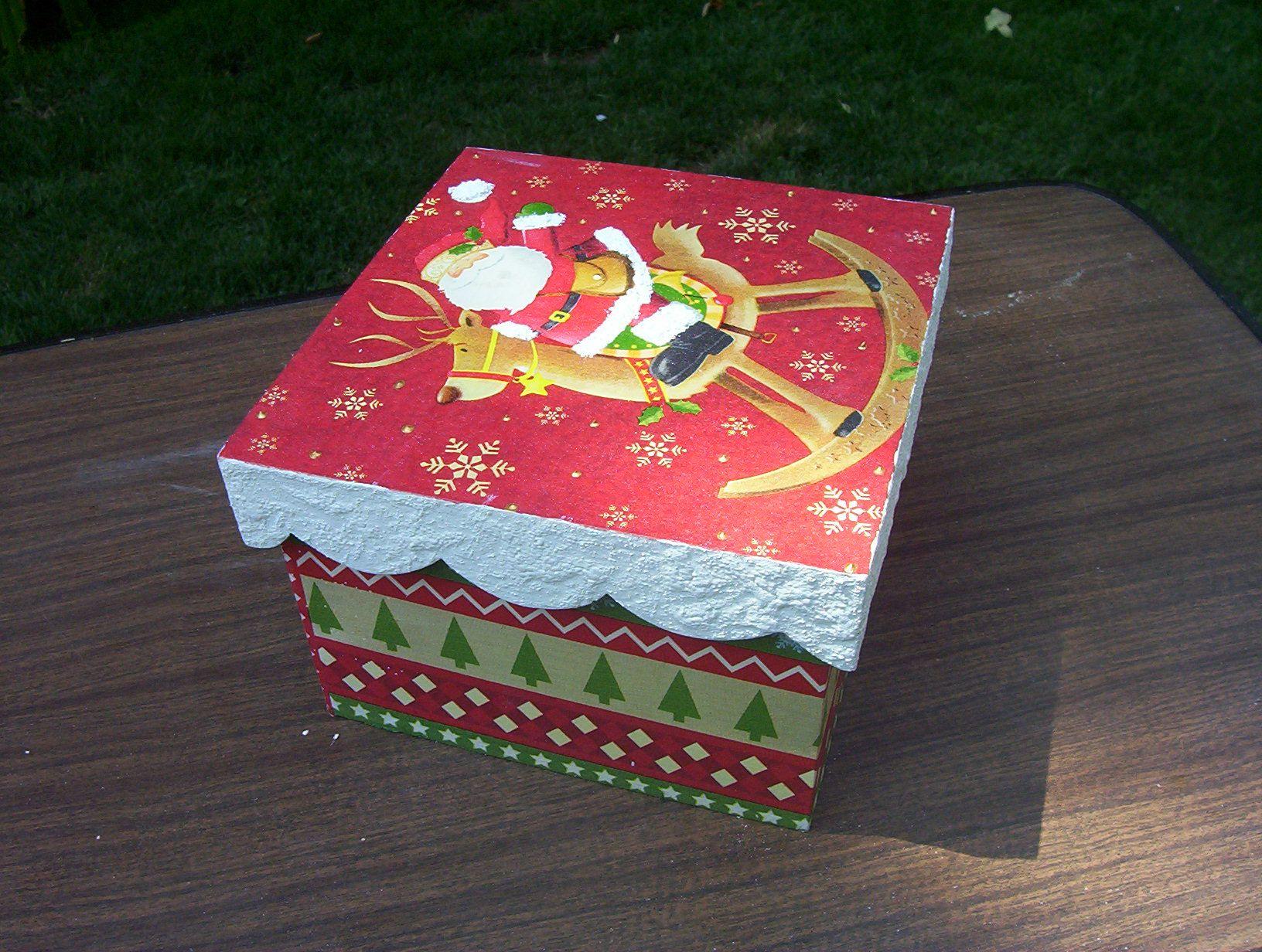 Caja navide a navidad pinterest decoupage navidad - Caja madera manualidades ...