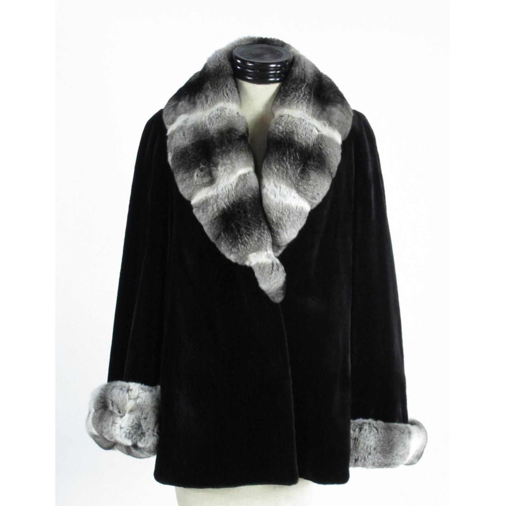 Black Sheared Mink and Chinchilla Coat Sold $1,900