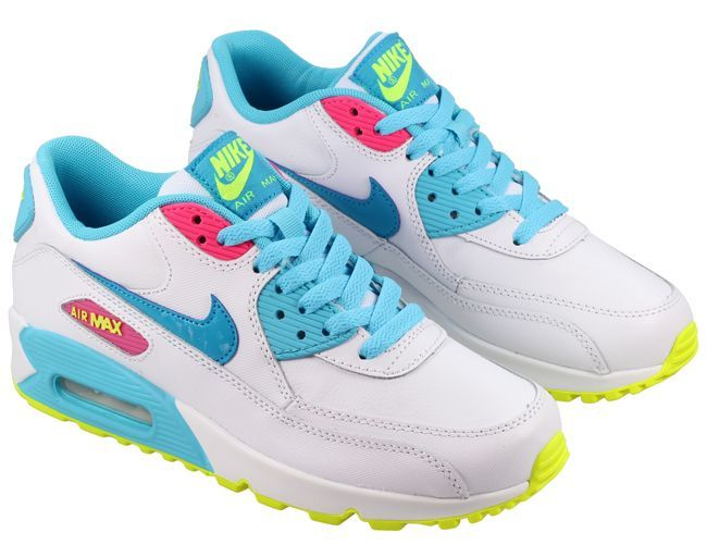 nike air max 90 junior trainers white pink