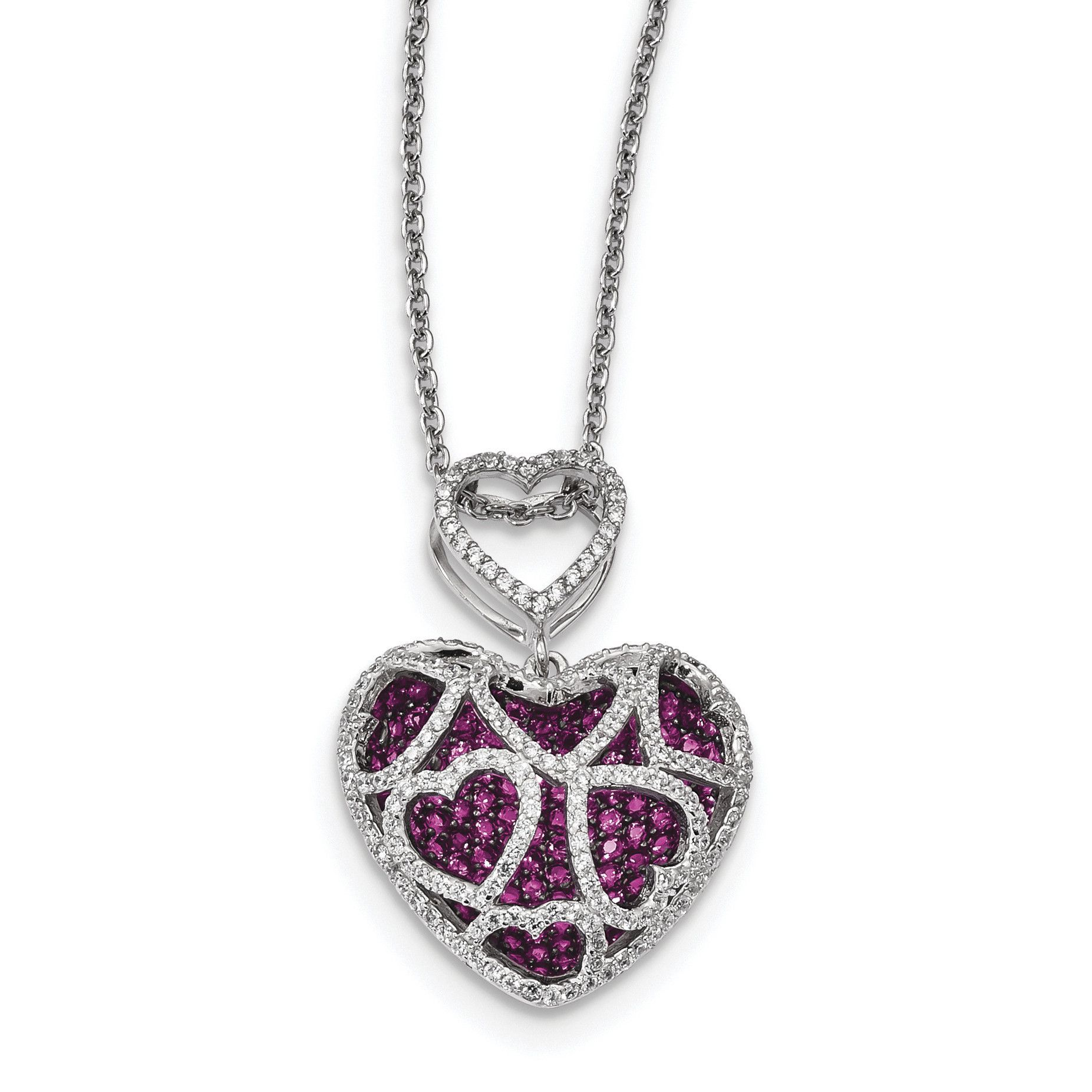 Sterling Silver Rhodium-plated CZ Heart Chain Slide