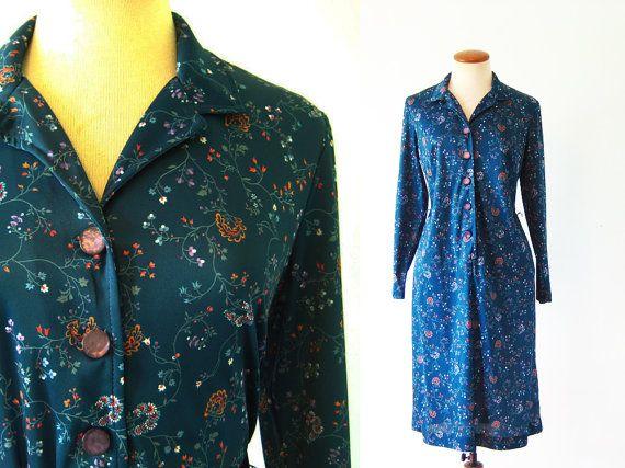 1970s Dress Shirtdress Dark Green Floral Button Front by fluffie