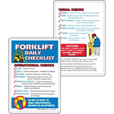 Forklift Daily Checklist Wallet Card EHS TEMPLATES Pinterest - best of free forklift training certificate template