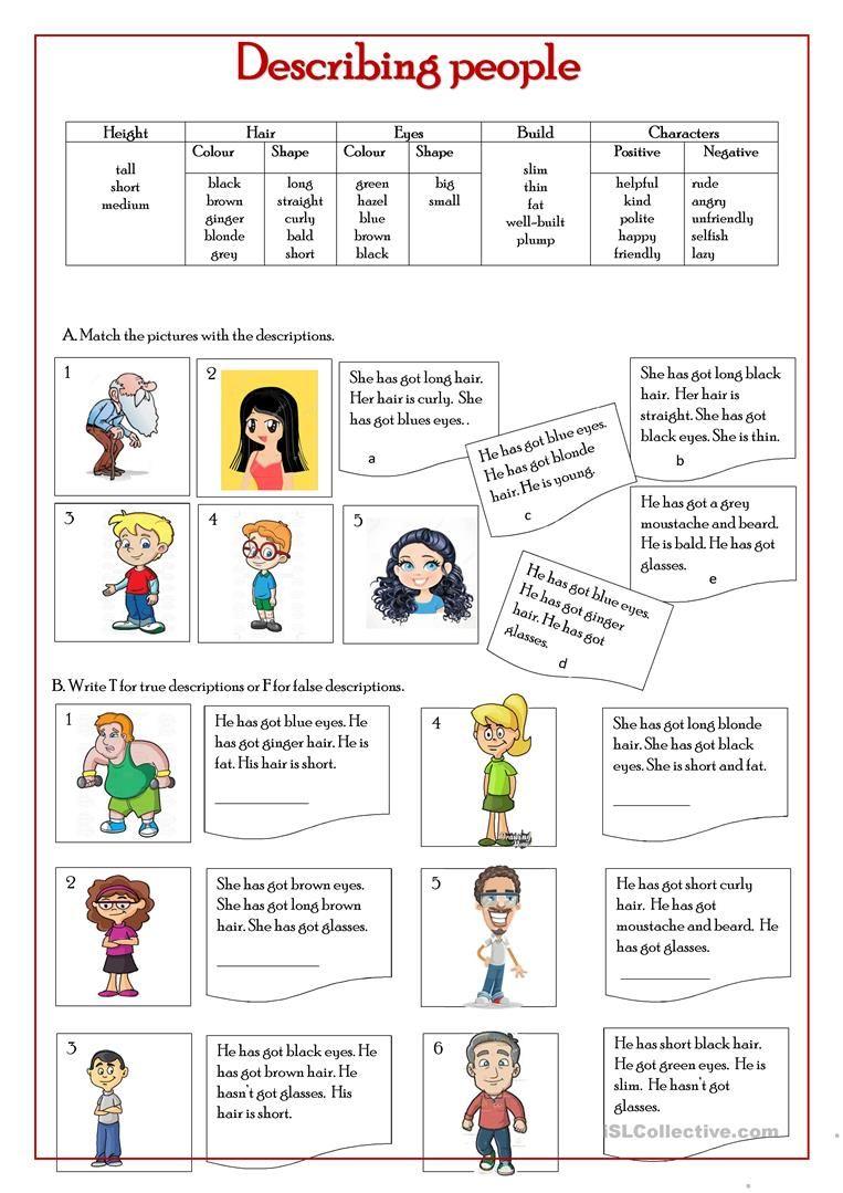 Describing people worksheet - Free ESL printable worksheets made by  teachers   Reading comprehension worksheets [ 1079 x 763 Pixel ]
