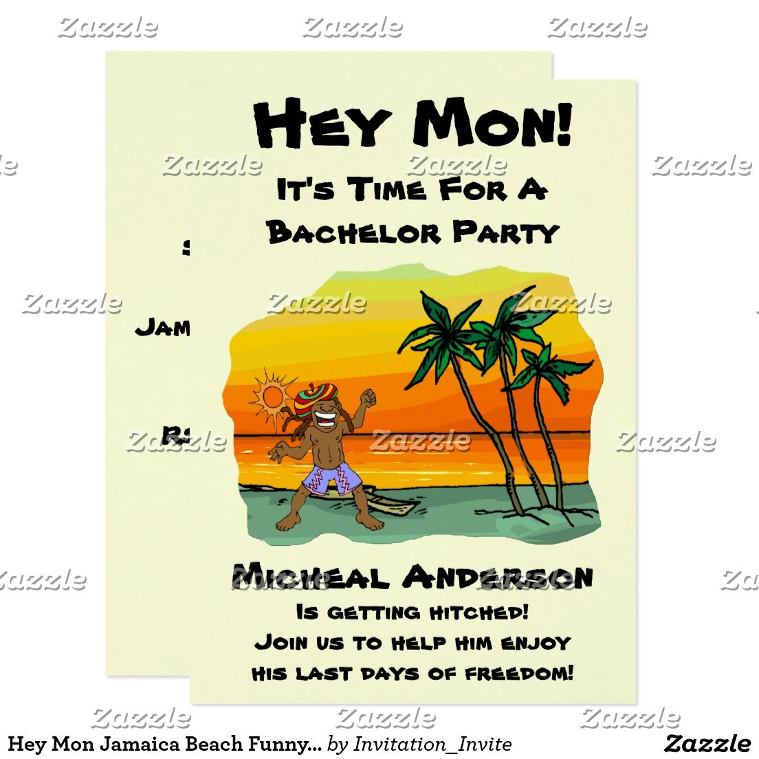 Hey Mon Jamaica Beach Funny Bachelor Party Card | Bachelor Party ...