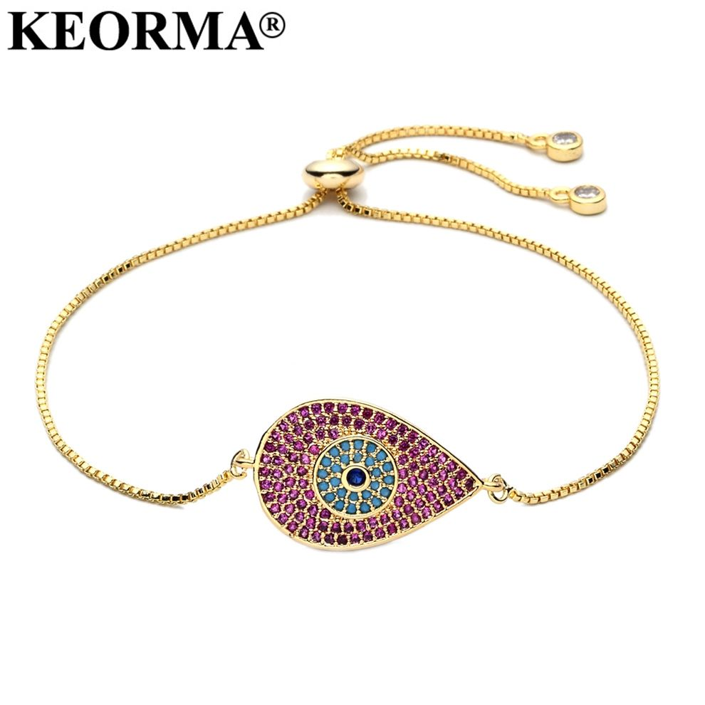 Keorma top grade charm zirconia bracelet for women adjustable link