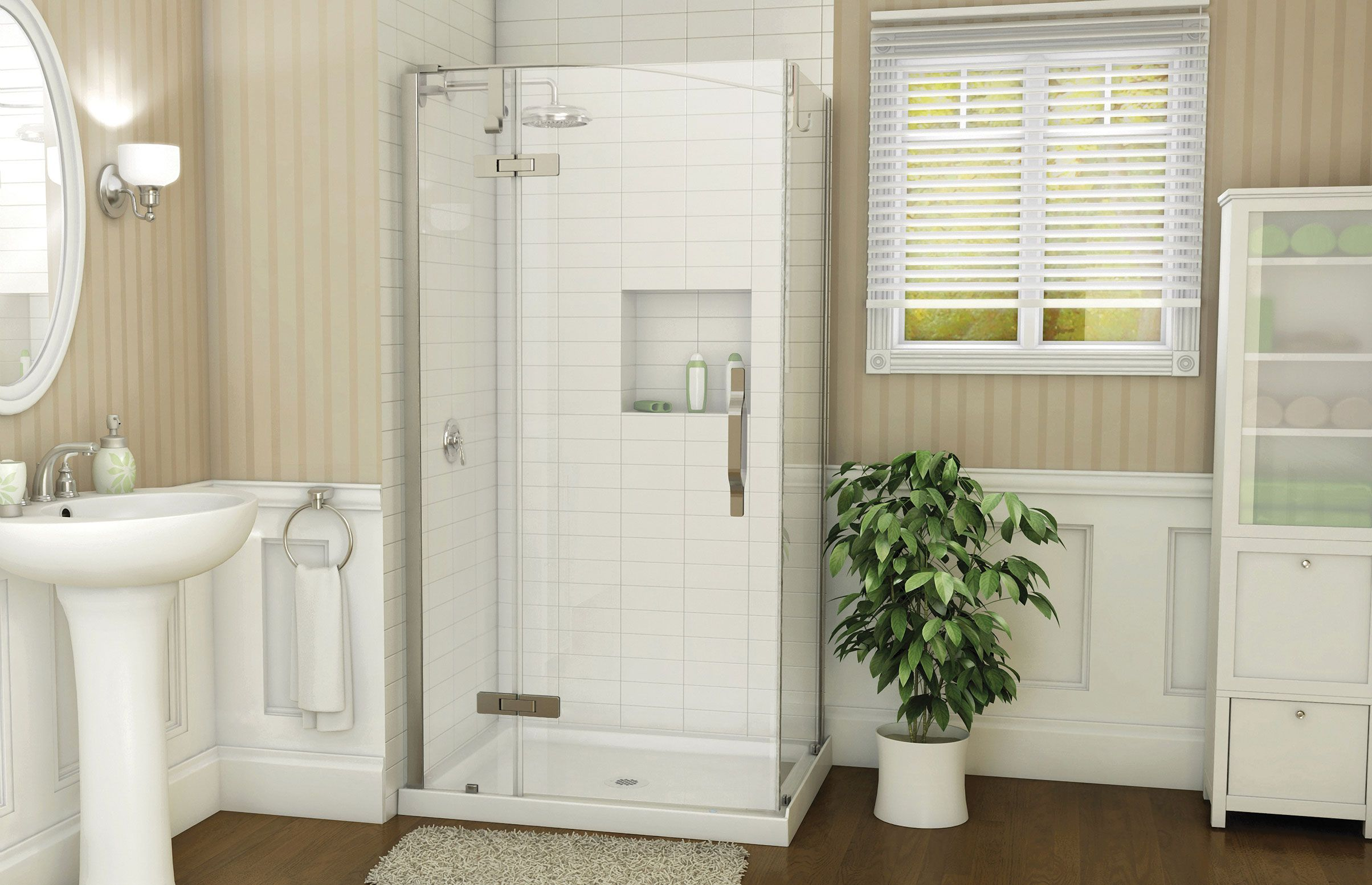 Azure 4234 Corner shower - Advanta by MAAX base and glass are a ...