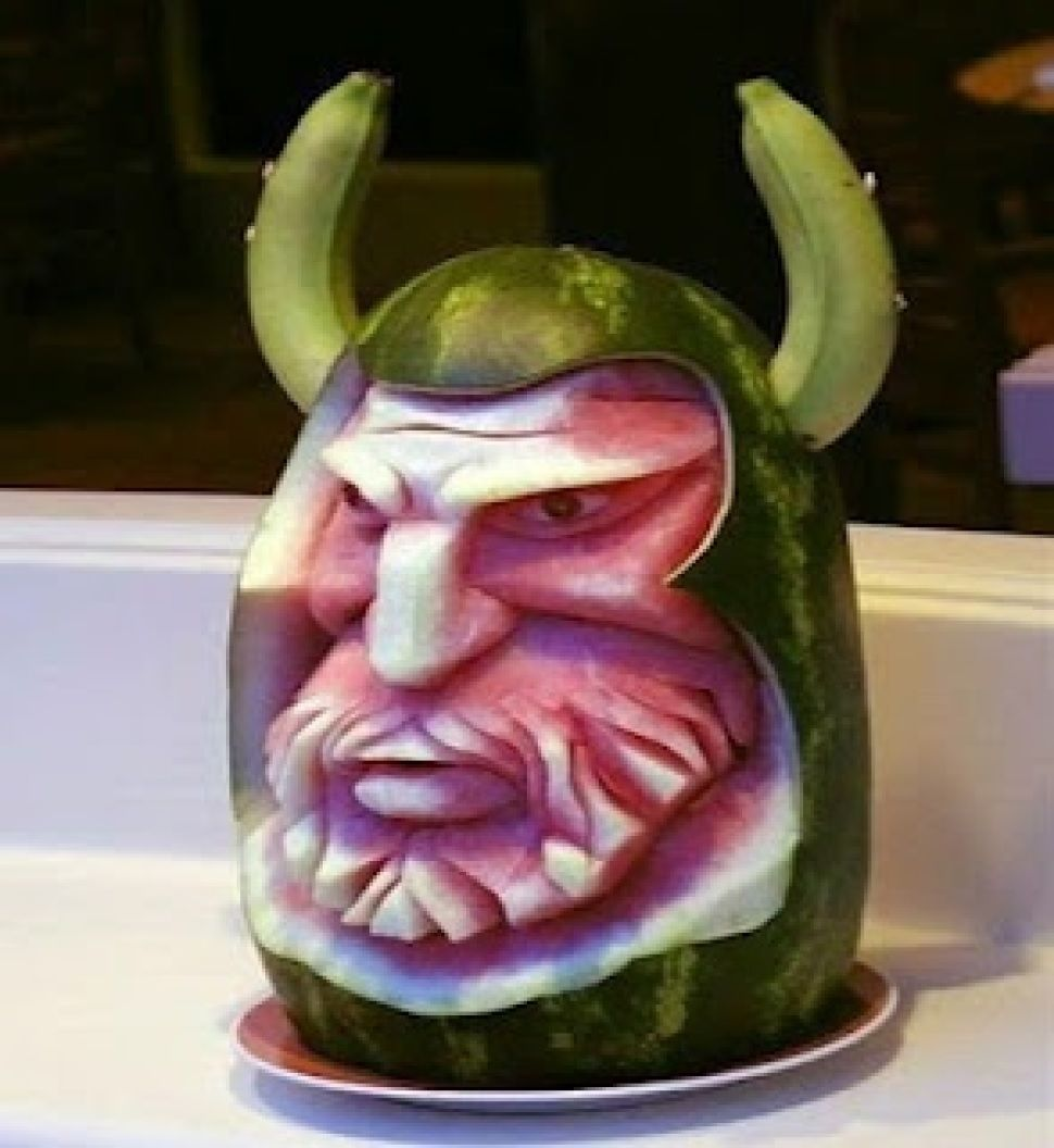 "The Viking Watermelons or ordinary melons could be a great base for awesome creations! Check out this set of crazy pieces of ""Melon art"". I ..."