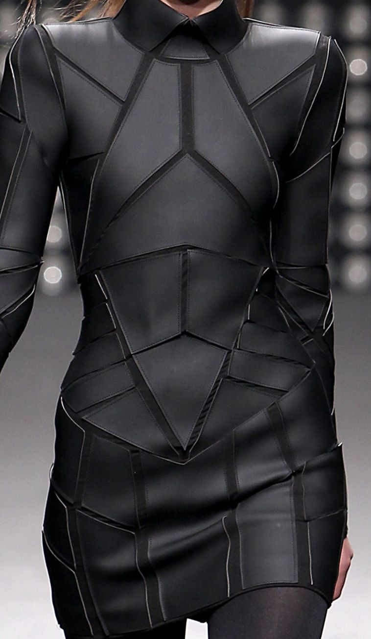 Geometric Fashion - black on black dress with stitched shape segments - futuristic suit; structured fashion details // Gareth Pugh