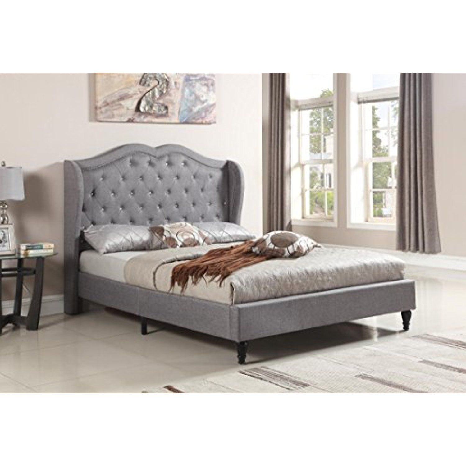 Home Life Premiere Curved Classics Cloth Dark Grey Silver Linen 51 Tall Headboard Platform Bed With Slats King Bed Tall Headboard Interior Design Living Room