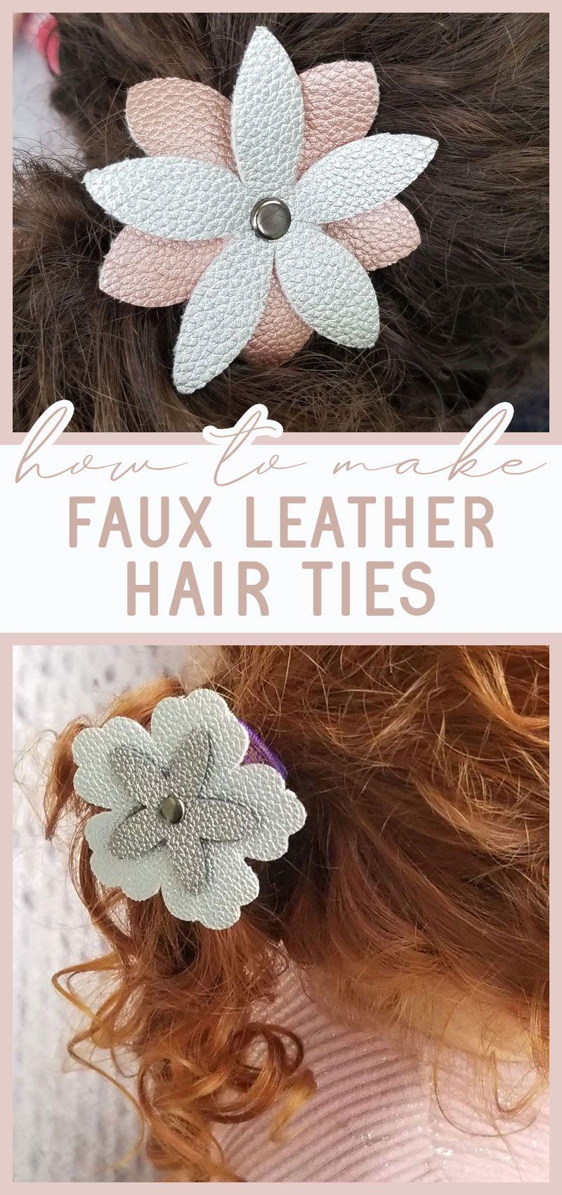 Diy flower hair accessories faux leather cricut hair