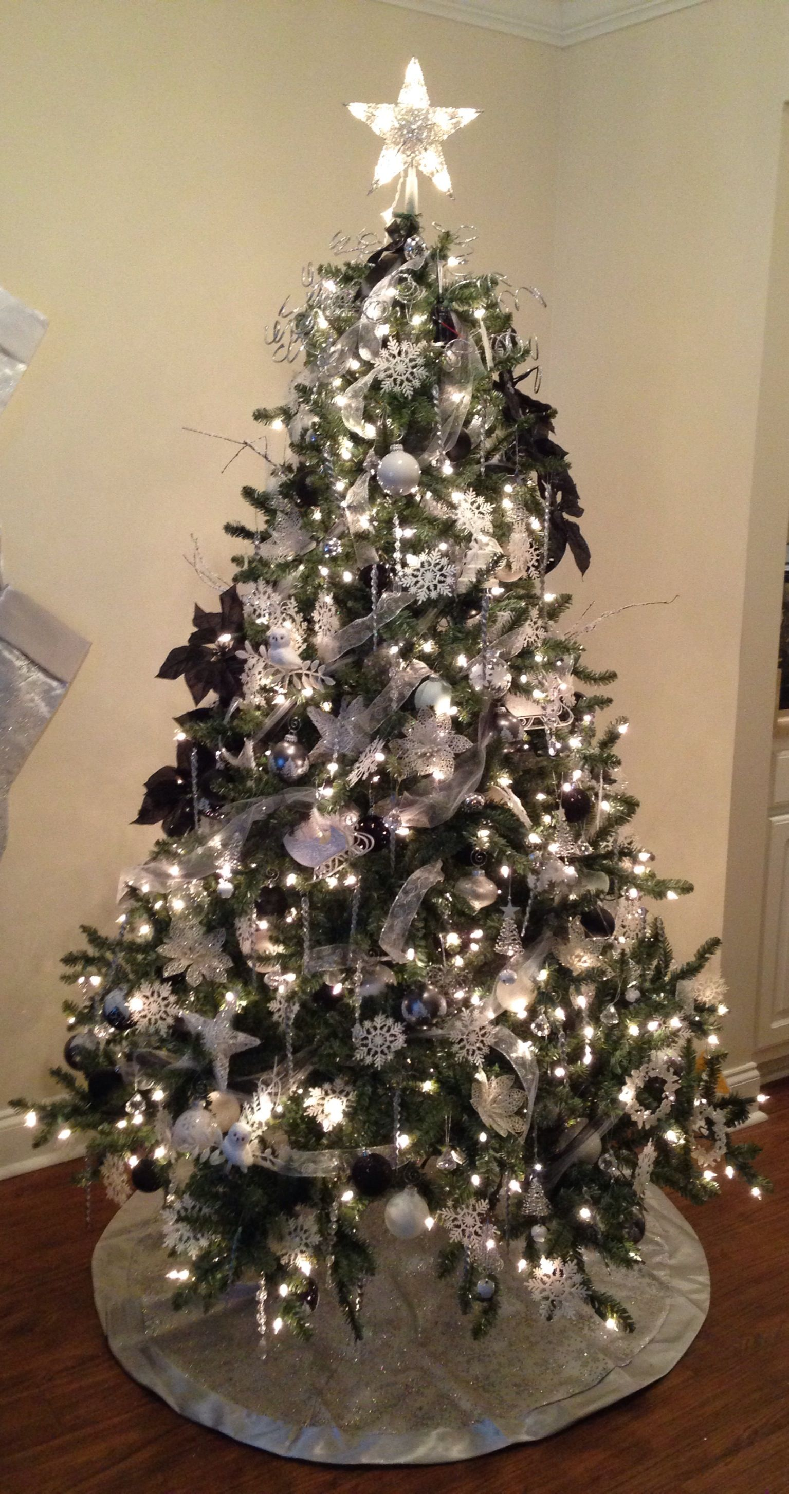 White, Silver And Black Christmas Tree. Blue Spruce