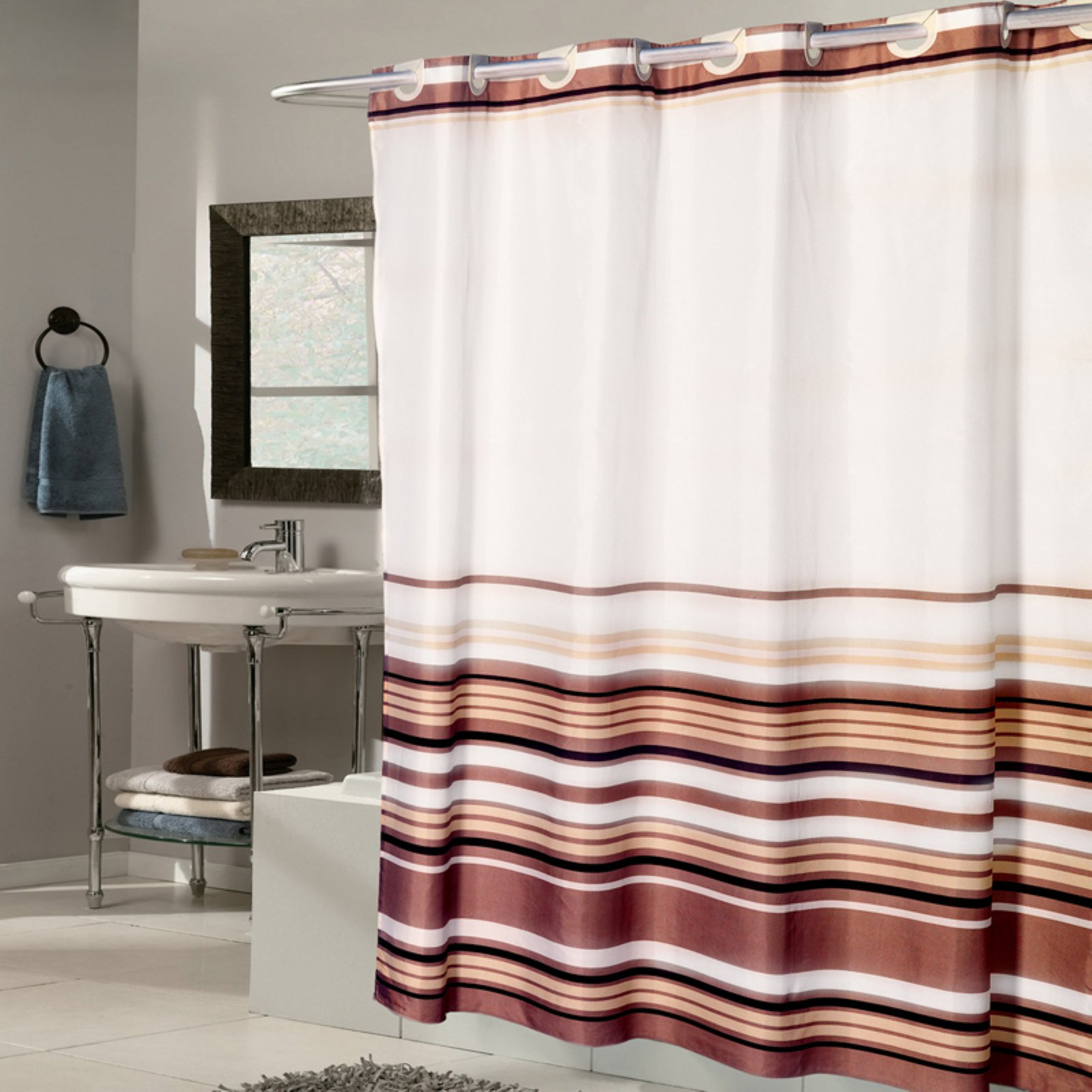 Sweet Home Collection Ez On Fabric Shower Curtain Stripe With