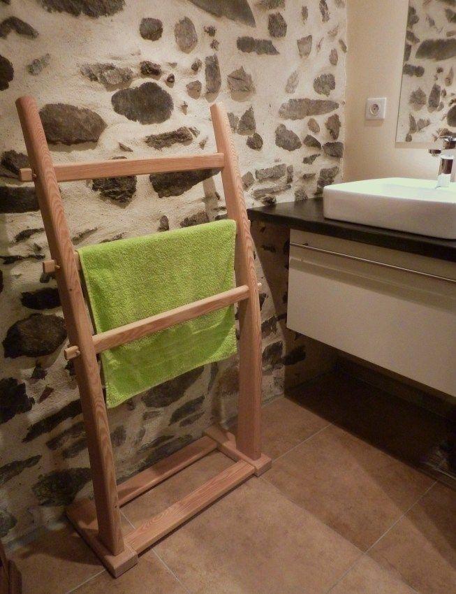 Porte serviettes en mélèze à poser a faire soi même Pinterest - Porte Serviette A Poser