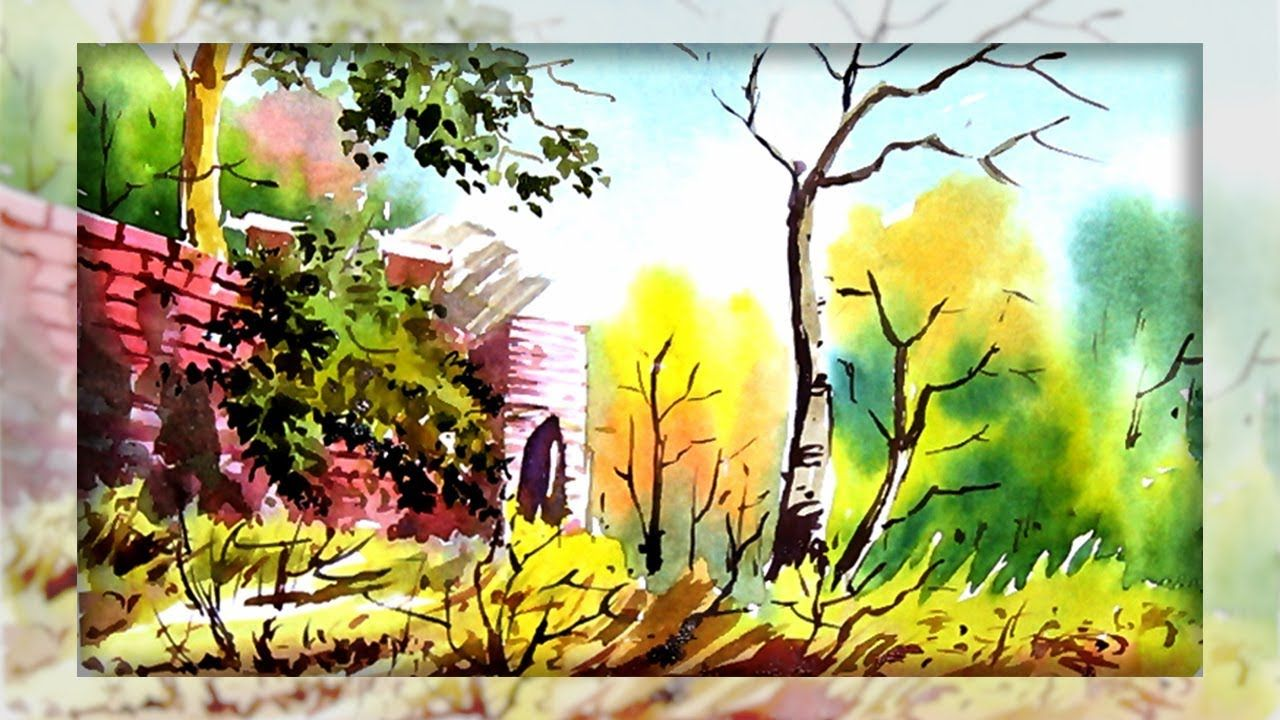 Easy Landscape Watercolor Painting Tutorial Poster Color
