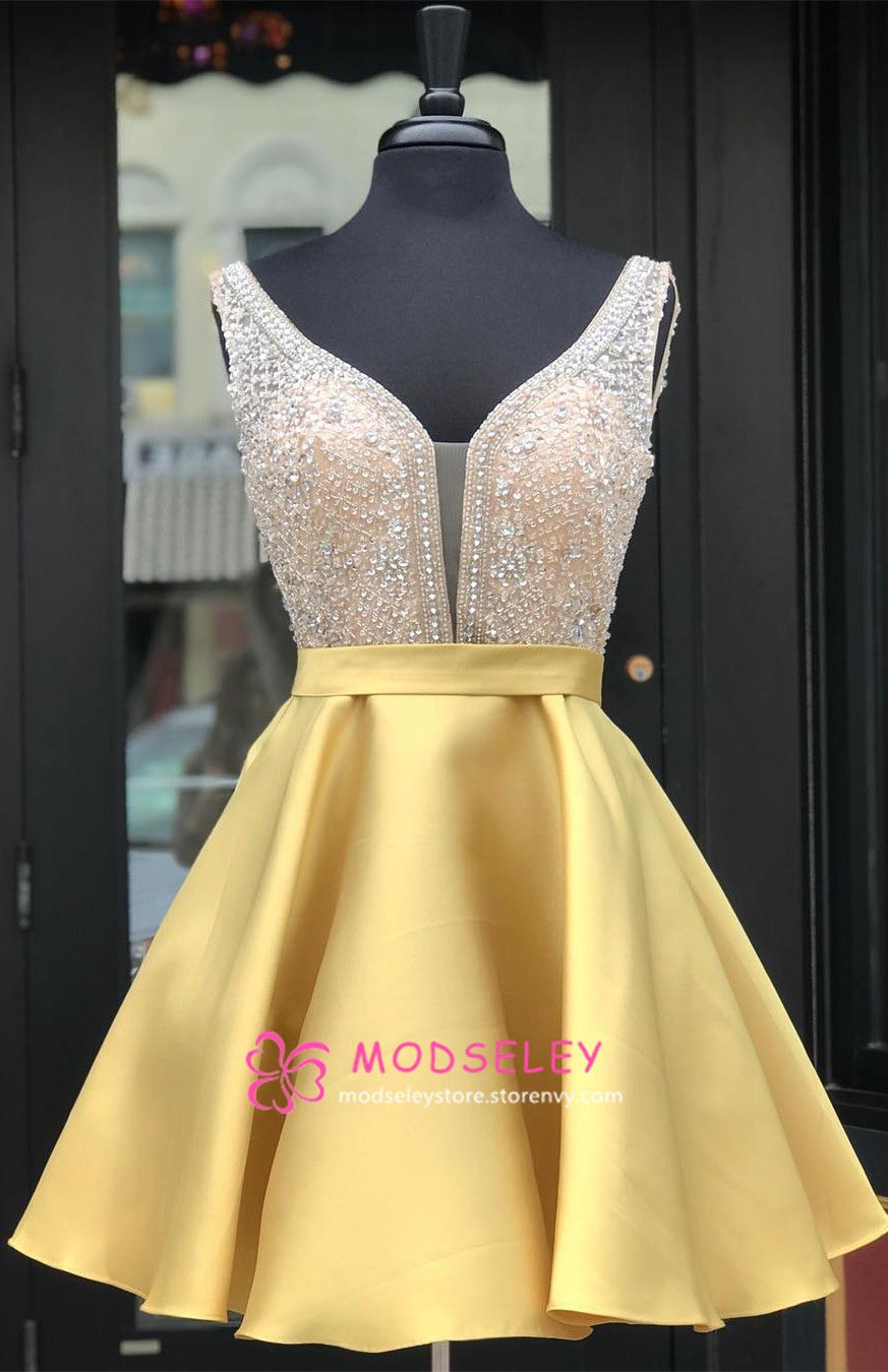 Beaded short yellow homecoming dress party dress from modseleystore