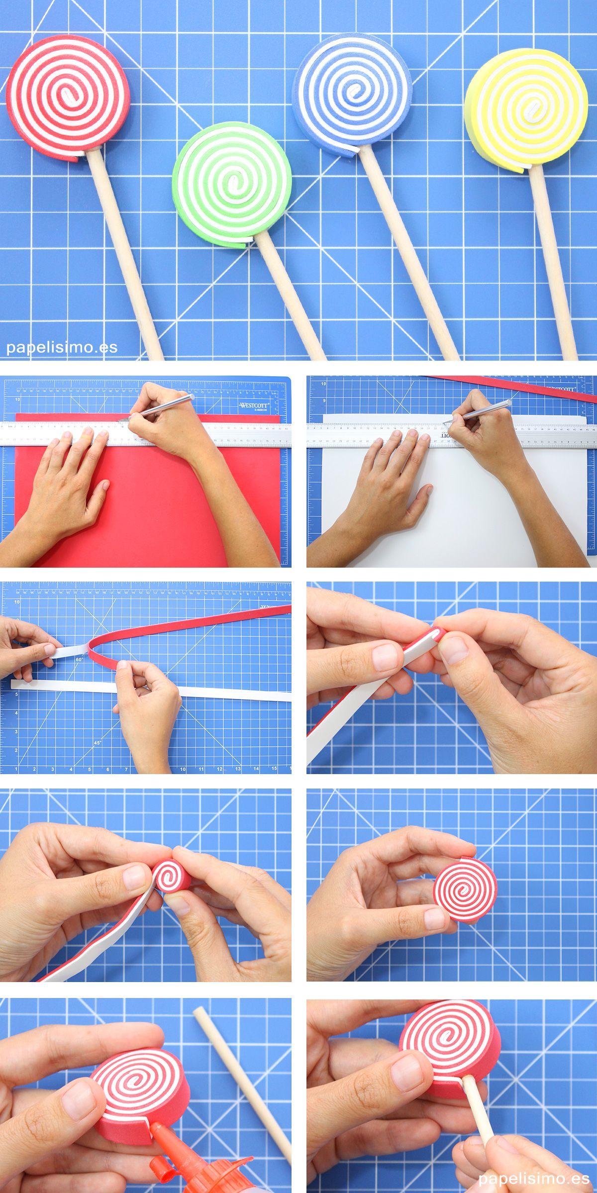 Como hacer piruletas de goma eva paso a paso diy Lollipop | - Party ...