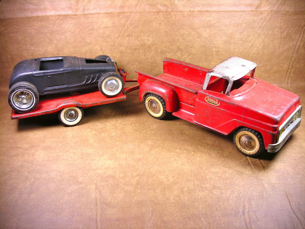 VINTAGE TONKA/NYLINT/BUDDY L  PICK-UP W/ HOT ROD AND TRAILER - PRESSED STEEL #Ford