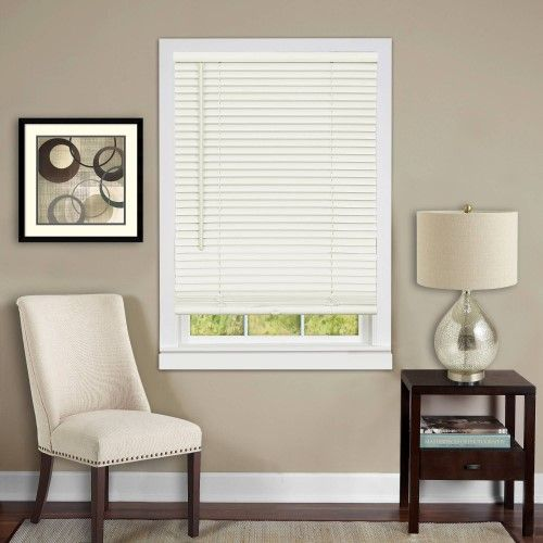 Anochecer Collection Set Of 6 Cordless Vinyl 1 Inch Room Darkening Mini Blinds Alabaster 33 X 64 Actual Measurement 32 5 X 64 Mini Blinds Vinyl Blinds Blinds