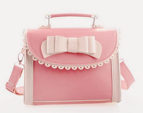 Kawaii Japanese Sweet Lolita Cute Love Bow Girl PU Messenger Bag Shoulder Bags-in