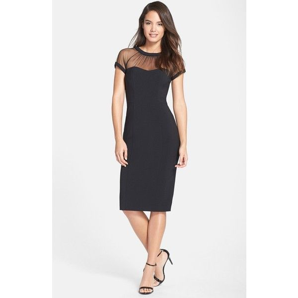 ff760422 Women's Maggy London Illusion Yoke Crepe Sheath Dress (186 CAD) ❤ liked on  Polyvore