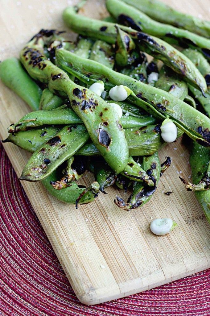 Grilled Fava Beans with Sea Salt
