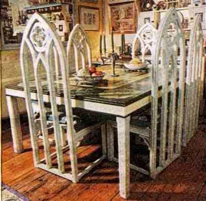 Charming Gothic Carved Painted Wooden Dining Table And Dining Chairs Furniture