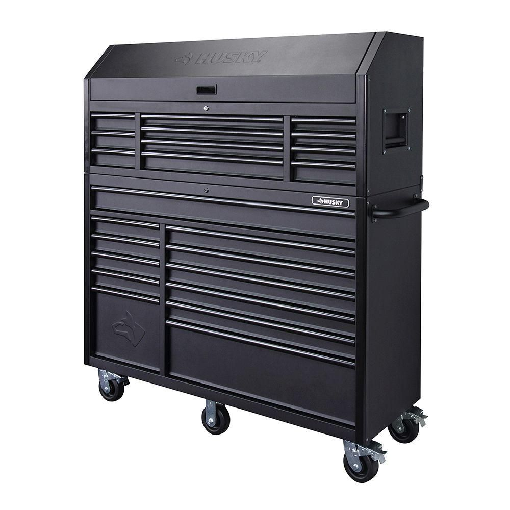 Husky 56 In 23 Drawer Tool Chest And Rolling Cabinet Set Textured Black Matte Hotc5623bb1s The Home Depot Tool Chest Tool Storage Cabinets Tool Storage